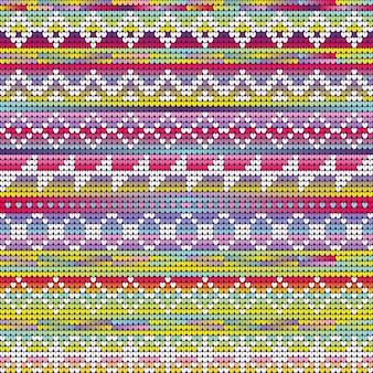Cores vibrantes tricotando padrão geométrico de natal