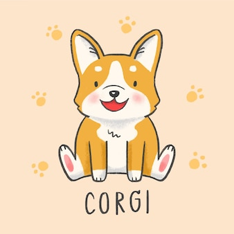 Corgi bonito cão dos desenhos animados mão desenhada estilo