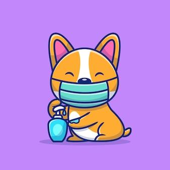 Corgi bonito usando máscara e ilustração de ícone de desinfetante para as mãos. conceito de ícone animal saudável.