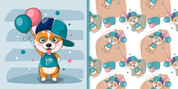 Corgi de cão bonito dos desenhos animados com balões