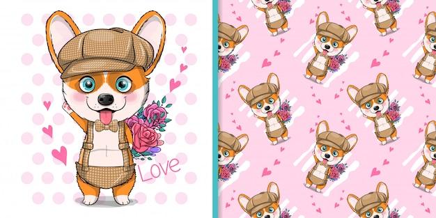 Corgi de cão bonito dos desenhos animados com flores