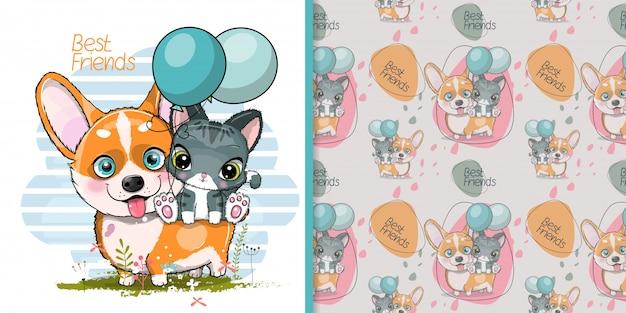 Corgi de cão bonito dos desenhos animados com gatinho fofo