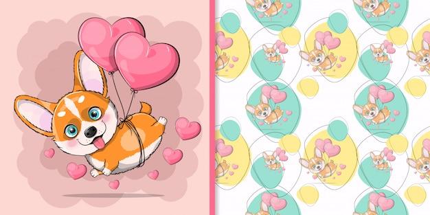 Corgi de cão bonito dos desenhos animados, voando com balões de coração