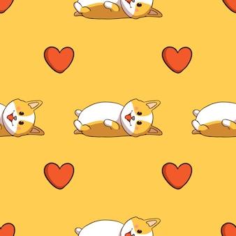 Corgi fofo dormindo e ícone de amor em padrão sem emenda com estilo doodle em fundo amarelo