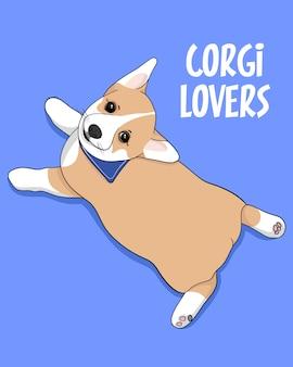 Corgi lovers, ilustração de corgi bonito mão desenhada