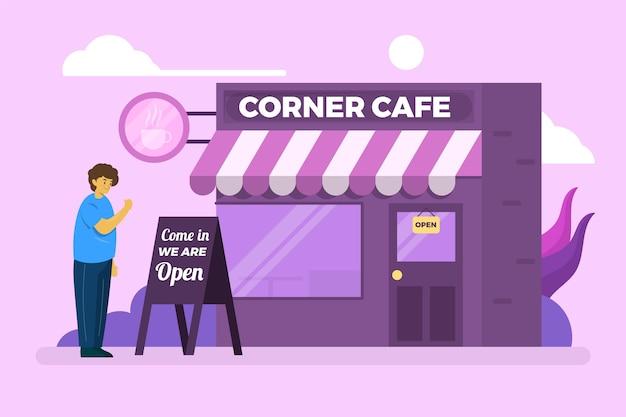 Corner café reabrindo o negócio