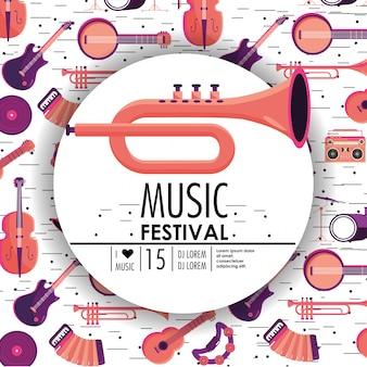 Corneta e instrumentos para o evento do festival de música