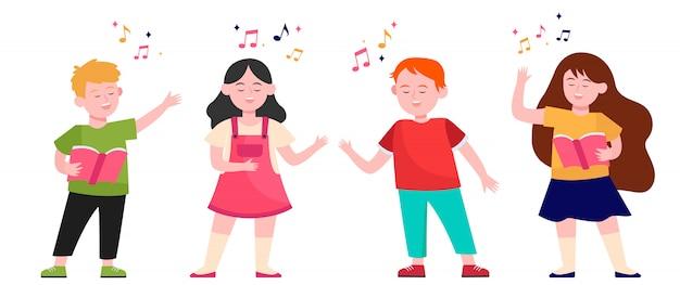 Coro de crianças dos desenhos animados