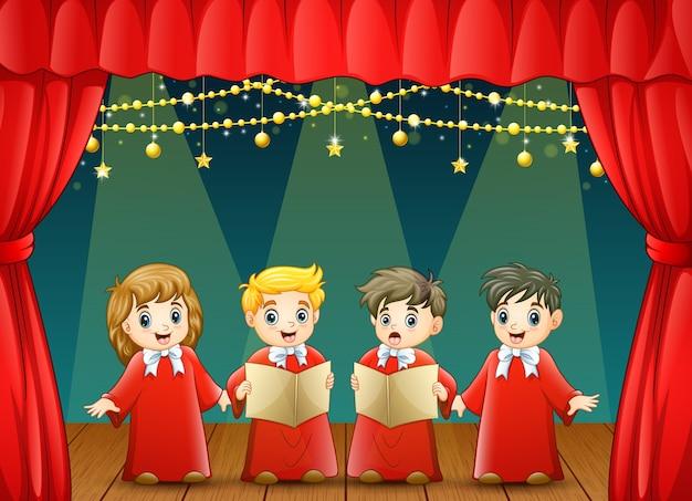 Coro de crianças no palco