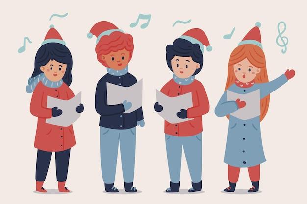Coro de pessoas cantando canções de natal