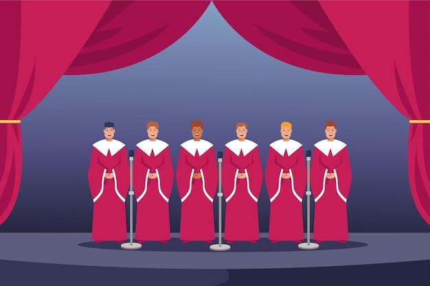 Coro gospel com cortina vermelha