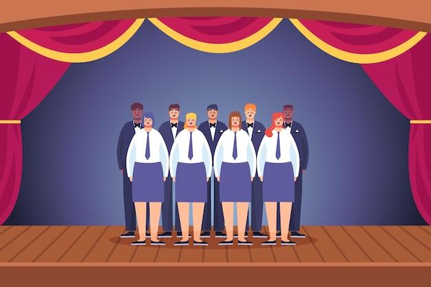 Coro gospel ilustrado em cena