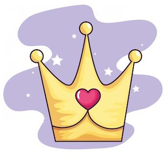 Coroa bonita com decoração de coração e estrelas