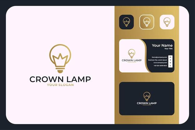 Coroa com design de logotipo de arte de linha de lâmpada e cartão de visita
