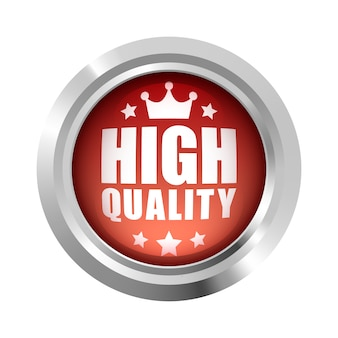 Coroa de alta qualidade e logotipo do emblema de 5 estrelas vermelho metálico prata brilhante