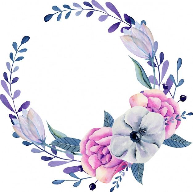 Coroa de anêmonas em aquarela em tons de rosa e azuis