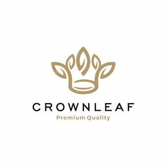 Coroa de arte linha com design de logotipo de folha