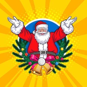 Coroa de árvore de natal com estilo de quadrinhos de arte pop de feliz natal de papai noel feliz ano novo.