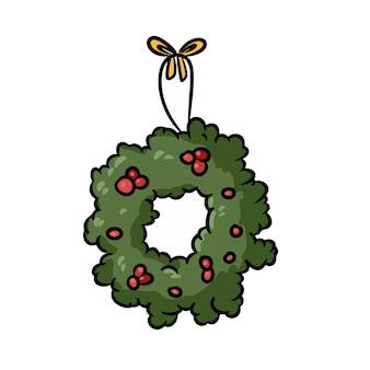 Coroa de azevinho de doodle desenhado de mão de natal. ilustração de férias de inverno