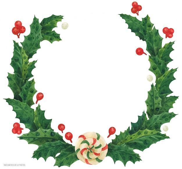 Coroa de azevinho de natal com pirulito