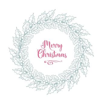 Coroa de azevinho vintage de natal