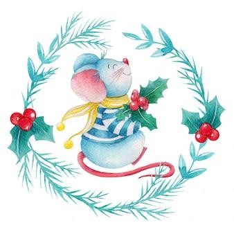 Coroa de bagas de azevinho em aquarela com rato bonito dos desenhos animados