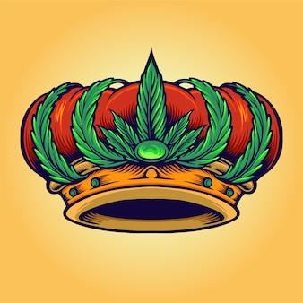Coroa de cannabis isolada com logotipo king kush