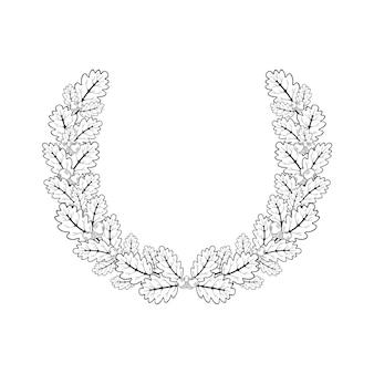 Coroa de carvalho. ilustração em vetor de ramos de carvalho em uma moldura redonda feita no estilo da gravura.