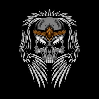 Coroa de caveira com ilustração vetorial de asas