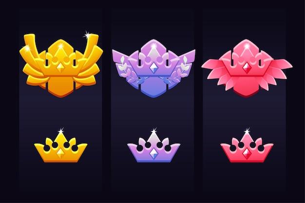 Coroa de conquistas para o jogo, emblemas de prêmios para o vencedor. ilustração conjunto de ícones de coroa de luxo brilhante para design gráfico.