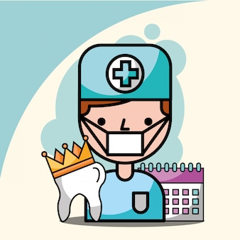 Coroa de dente de menino dentista e lembrete de calendário