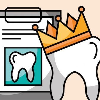 Coroa de dente e prancheta relatam atendimento odontológico