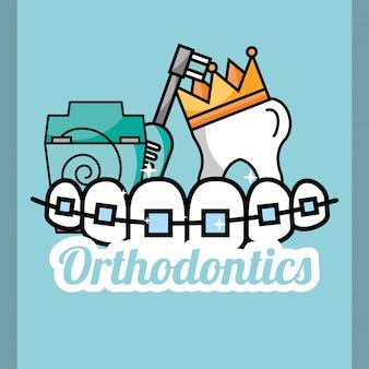 Coroa de dente ortodontia fio dental e escova elétrica