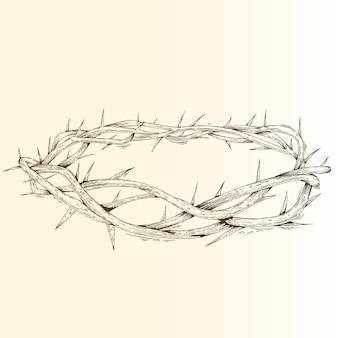 Coroa de espinhos desenhada de mão
