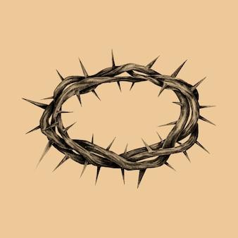 Coroa de espinhos desenhada mão realista
