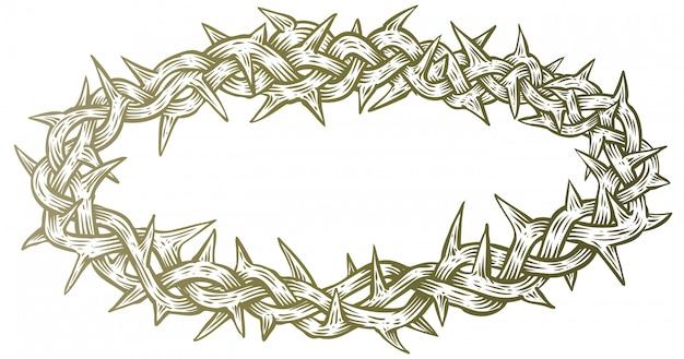 Coroa de espinhos linha arte ilustração