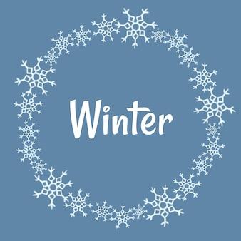 Coroa de flocos de neve de inverno