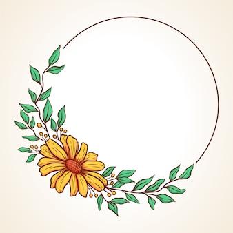 Coroa de flores colorida com folhas e frutos em forma de moldura redonda