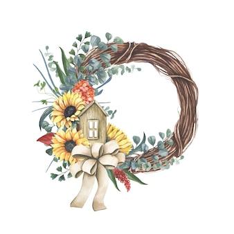 Coroa de flores com buquê de girassol amarelo.