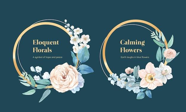 Coroa de flores com conceito pacífico de flor azul, estilo aquarela