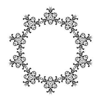 Coroa de flores com enfeites de flores elegantes com cachos no estilo damasco preto e branco