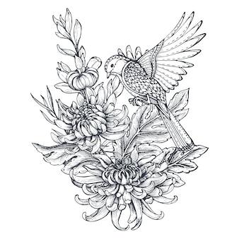 Coroa de flores com flores de crisântemo desenhada à mão preto e branco