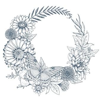 Coroa de flores com flores desenhadas à mão, folhas, ramos e borboletas no estilo de desenho. ilustração monocromática