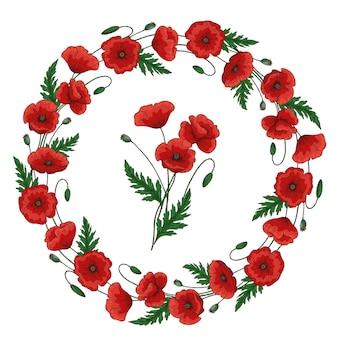 Coroa de flores com flores vermelhas de papoula. quadro floral redondo. papaver. caules e folhas verdes. ilustração de mão desenhada. isolado