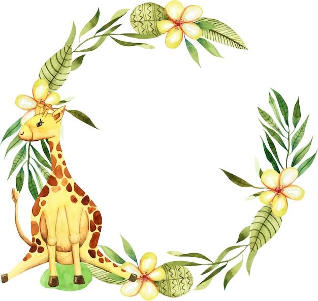 Coroa de flores com girafa bonitinha em aquarela, flores e elementos florais