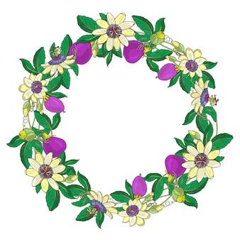 Coroa de flores com maracujá, passiflora, fruta violeta. quadro floral em fundo branco. elemento para scrapbooking, convite, cartão de felicitações, livro e diário, decoupage, aniversário de casamento