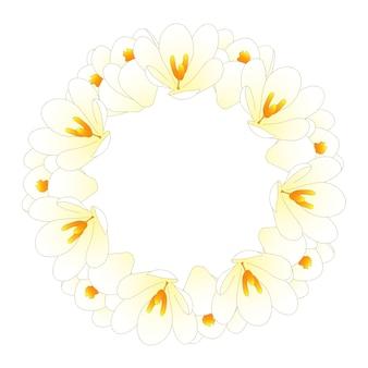 Coroa de flores de açafrão branco