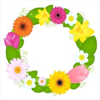 Coroa de flores de flores e folhas, sobre fundo branco, ilustração