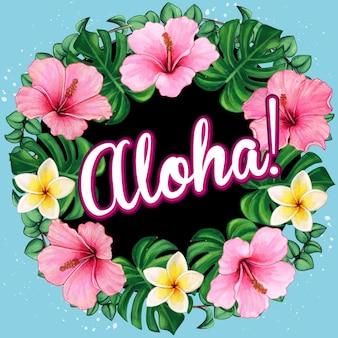 Coroa de flores de hibisco em aquarela com mensagem aloha