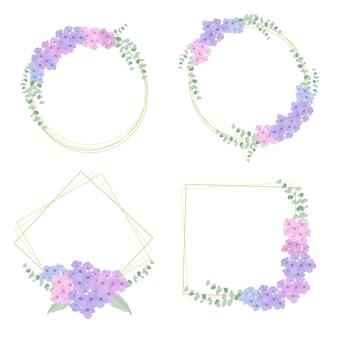 Coroa de flores de hortênsia com coleção de moldura dourada